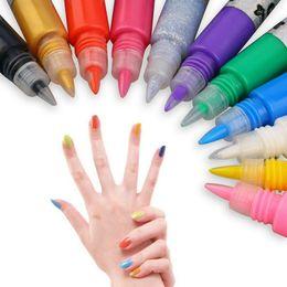 Wholesale 12 Colors D Nail Art Paint Drawing Pen DIY Decorations Acrylic Gel Nail Polish Set Kit Painting Pen Manicure Nail Tools