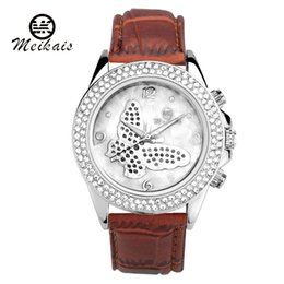 Wholesale Leather Belt Name Brands - new meikais Brands Women's New Luxury Name Brand Women's Rhinestone Fashion Casual Watches Diy Mk Silicone Leather belt Dress wristwatch