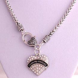 Wholesale Best Price High Quality rhodium plated zinc studded with sparkling crystals I LOVE MY HARLEY heart pendant wheat chain necklace