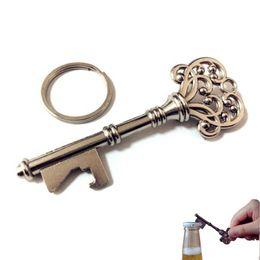 Wholesale vintage keychain key chain Bottle Opener Key Shape Steel Bronze Keychains Antique Retro Openers keyring key ring hot sale