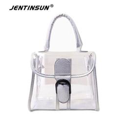 La moda bolsas de plástico transparentes en venta-Jelly Europea y American Beach manera de las mujeres del bolso del bolso de las mujeres transparentes del mensajero del hombro del bolso de plástico a prueba de agua portátil