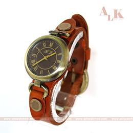 Wholesale bracelet watch fashion woman lady vine antique genuine cow leather band brand woman analog quartz leather watch