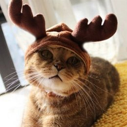 Wholesale Christmas Costume Pet Cat Doggy Antlers Cap Hat Pet Clothes your pet will look great cool when wearing it