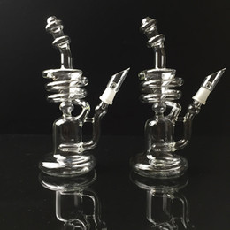 Handcrafted Glass Bong Oil Rigs Recycler spiral rigs Recycler Water Pipe Hookahs For Smoking 2015 Hot Sale Free Shipping
