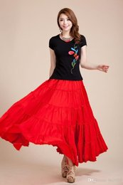 Promotion bohême plissé jupe longue Faldas bohemia plein cercle coton danse rouge espagnol plissé Longue jupe saia haute taille maxi jupes femmes Livraison gratuite