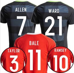 Wholesale 2016 European Cup Wales Jersey Wales Home Red Away Black Shirts Soccer Uniform Thai Quality ALLEN BALE Football Shirts Men s JERSEY
