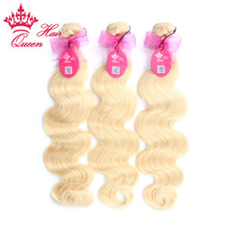 "Queen 100% Human Hair #613 bleach Blond Color 3pcs lot 12""-28"" Body Wave European Hair Weave Extensions DHL Free"