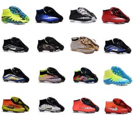 Wholesale 2016 Men Mercurial Superfly CR7 FG Soccer Cleats Magista Obra Soccer Shoes Outdoor Champions League Football Boots Hypervenom II Cleats shoe