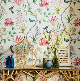 Wholesale American Style Rustic Wallpapers Roll Vintage Floral Non woven D Wall Paper Butterfly Bedroom Wallpapers Birds Wall Decals D