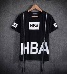 Wholesale Men Fashion Hip Hop T Shirt Zipper Side HBA Hood By Air Harajuku t shirts for men Spinal Cord Streetwear Tees For