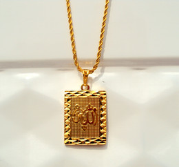 Wholesale Faith Solid Gold K Yellow rope Chain Square Pendant Allah Jewelry INCH real gold not the real Gold not money