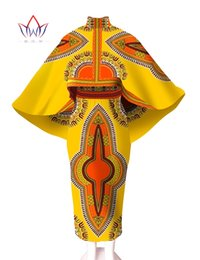 Wholesale Skirt and Top Set cloak Private Custom made Printed Fabric for Africa Women Wax batik Plus Size Women African WY545