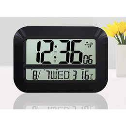 Wholesale Large Display LCD LED Digital Wall Clock Battery Powered Operated Home Decor Modern Design Indoor Temperature Date Watch Alarm