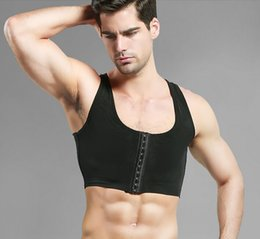 Wholesale-Male control chest Bra Gynecomastia Chest Shaper Vest tops Sexy Men Posture Corrector Compression Shirt Corset Wholesale
