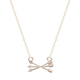 10pcs lot New Design Tiny Piercing Crossed X Arrow Necklace In Gold Silver necklaces pendants for women
