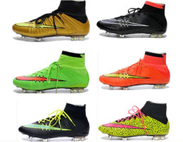 2015 CR7 Superfly Fg Soccer Shoes Mens Boys Football boots High Ankle Soccer Cleats CrIStiAnO RoNaLdO Botas De Futbol 18 Color free shipping