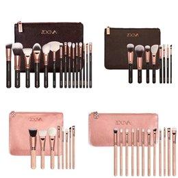 Wholesale 2016 HOT NEW ZOEVA Brushes Makeup piece Professional Brushes Kit Foundation Brush Luxury Bag Black