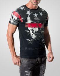 Wholesale trend new pp men s casual T shirt PHILIPP MEN S ink skull printing style v neck t shirt short sleeve t shirt size M XXL
