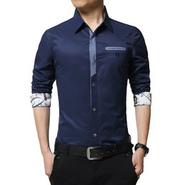 Wholesale 2016 New Men Fake Denim Shirt Embroidery Floral Logo Long Sleeve Fake Pocket Black White Cuff Mode Cool Business Dress