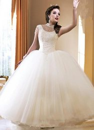 2016 Arabic Wedding Dresses Cheap High Neck Beaded Ruched Tulle Ball Gown Keyhole Back Plus Size Bridal Gowns Custom Made