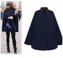 2016 new fashion stand Collar Covered button Woolen women's Cape windbreaker coats women's coats Women's Outwear women clothes navy