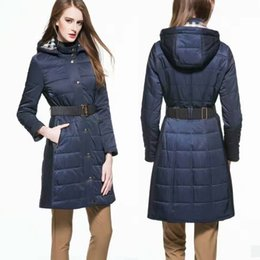 Wholesale Brand New Women Long Down Coats Lady Top Fashion Long Trench Coats British London Style Best Price Free Freight Cost BC1205
