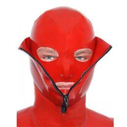 Wholesale Latex Bondage Mask Hoods Nature Latex Fetish Hood for Men Female Sex Toys Products Sexy Latex Rubber Bondage Hood LBH