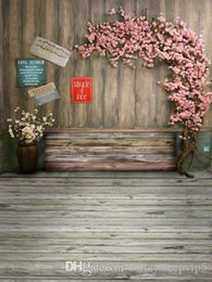 Wholesale Wooden Board Wall Flowers Signs X7ft Camera Fotografica Children Baby Photography Backdrops Vinyl Background for Photo Studio