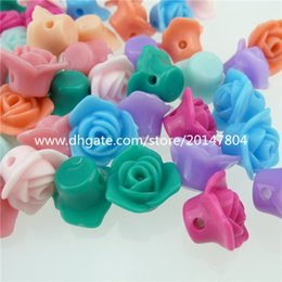 Wholesale 13034 MIXED Acrylic Mixed Color Rose Flower Spacer Beads Charms