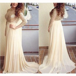 Sheath Chiffon Scoop Elegant Long Sleeved With Train Long Beadded Prom Dress Special Occasion Dresses Evening Gowns