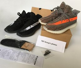 Wholesale NEW kanye west men s shoes SPLY Boost Season Orang Stripe running shoes boost Sneakers Keychain Socks Bag Receipt Boxes