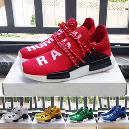 Wholesale 2016 new Yellow White Red NMD Human Race Running Shoes with Breathable Hu race Williams Pharrell High Quality