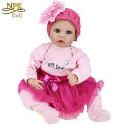 Wholesale 22Inch cm Silicone Boneca Baby Reborn Doll So Truly Real Alive Lifelike Vinyl Dolls Adora Kids Toy