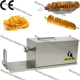 Wholesale v v Electric Automatic Hot Dog Twister Spiral Tornado Potato Curly Fry Cutter Slicer with L Deep Fryer Bamboo Skewer