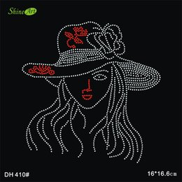 Free shipping Nice lovely girl pattern hot fix rhinestone rhinestones fix iron on crystal transfers design sticker DIY DH410#