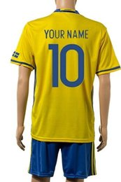 Wholesale Customized Cheap Sweden European Cup IBRAHIMOVIC Soccer Jersey Sets discount Cheap Outdoor LUSTIG uniforms BERG Football wear