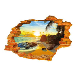 Wholesale S5Q Creative D High Quality Wall Stickers Sunshine Beach Wall Stickers Home Decor AAAFUN