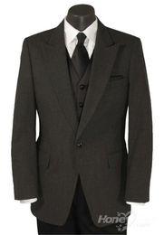 Wholesale custom made Gray One Button Peak Stroller Tuxedo Coat formal suit Groom Tuxedos Jacket Pants Vest Tie