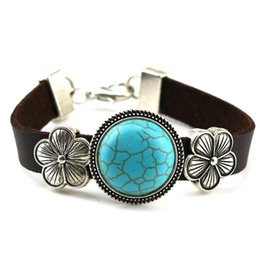 Wholesale Womens Dark Coffe Leather Band Bracelet Turquoise Round Antique Silver Flower Cuff Bangle Jewelry