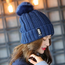 Wholesale Womens Autumn Winter Knitted Hat Ball WoolBeanies Ears Warmers For Girls Fashion Bonnet Lady Casual Soft Gorro