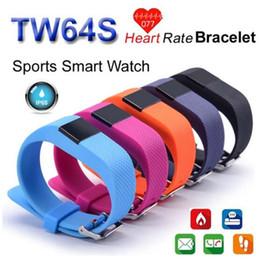 Mi bracelet de bande en Ligne-TW64S Bluetooth 4.0 intelligent Bracelet bande intelligente IP67 moniteur de fréquence cardiaque Wristband Fitness Tracker pour Android iOS xiaomi mi 5