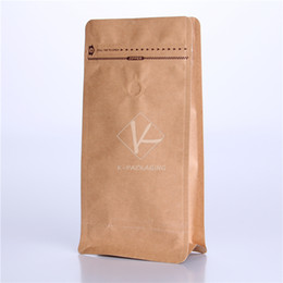 Wholesale 2016 Hot New Arrival x26cm g Aluminium Foil Brown Kraft Flat Bottom Bag Supplier Resealable Kraft Bag for Coffee With Valve