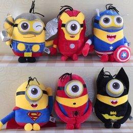 Wholesale 18cm Minions plush Toy Captain America Superman Spider Man Batman Thor Iron Plush Toy Despicable Me action figure dolls