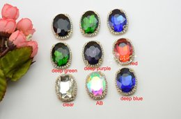 10 pcs Costume Dress Accessories Oval Color Rhinestone Applique Sewing On Button for glass beads of 20x30mm