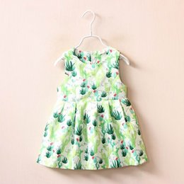 Wholesale 2016 Autumn New Baby girl dress cactus Green fresh Sleeveless Dress Fashion Sundress Children Clothing