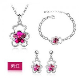 Wholesale 2016 fashion jewelry for woman manufacturer hollow out of bear plum flower crystal necklace earring bracelet jewelry sets G022