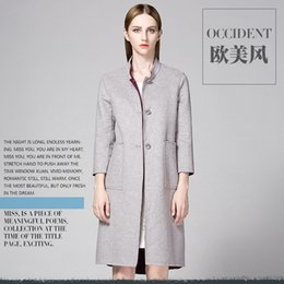 Wholesale Autumn and winter in Europe and the brand of women s clothing of Australian wool double coat high end ol female long trench coat