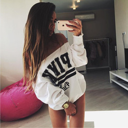 Wholesale 2016081313 Autumn Winter tracksuit for women svitshot Strapless hoodies Sweatshirts White Cool Print Letter Sport Cloth