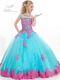 2016 New Arrival Little Girl Ball Gown Scoop Appliqued Glitz Pageant 2016 Flower Girls Dresses Long For Children Prom Gown