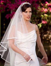 2017 New Veil Wedding Dress Bridal Gown White Ivory Tulle Two Layers With Comb Ribbon Edge Elbow Length Cheap